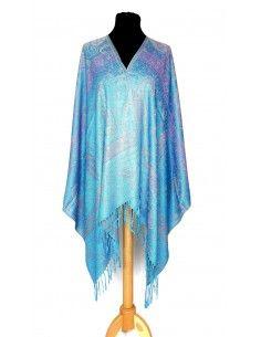 écharpe tissée pashmina bleu turquoise  - 1