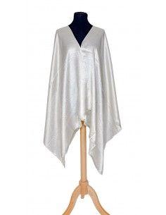châle indien motif cachemire blanc soyeux  - 1
