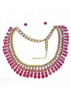 Parure chaine maille rose...