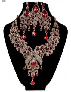 Parure Bijoux indiens Paon rouge et ambre  - 1