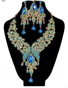 Parure Bijoux indiens Paon turquoise et doré  - 1