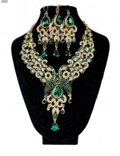 Parure Bijoux indiens Paon vert émeraude et doré  - 1