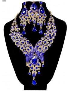 Parure Bijoux indiens Paon bleu royal et doré  - 1