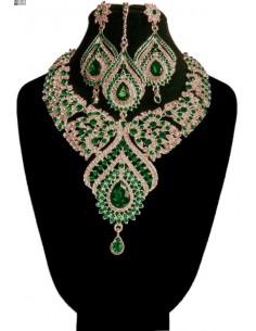 Parure Bijoux indiens Assia vert émeraude et doré  - 1