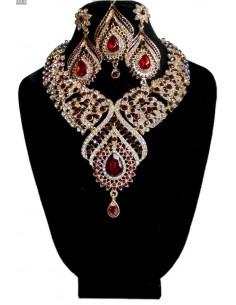Parure Bijoux indiens Assia rouge et doré  - 1