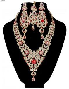 Parure Bijoux indiens Meena rouge et doré  - 1
