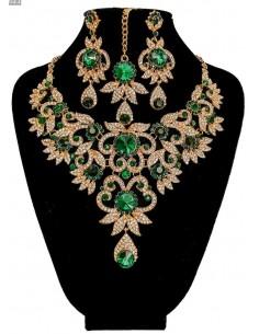 Parure bijoux indiens Bollywood vert émeraude et doré  - 2