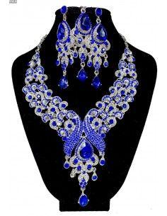 Parure Bijoux indiens Paon argenté et bleu royal  - 1