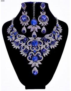 Parure Bollywood bleu royal et argenté  - 1