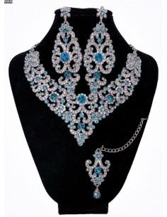 Parure indienne Preeya turquoise et argenté  - 1