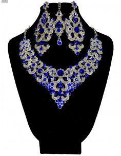 Parure indienne Preeya bleu royal et argenté  - 1