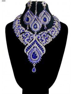 Parure Assia bleu royal et argenté  - 1