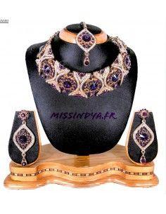 Parure Bijoux indienne Doré & violet OCT17  - 1
