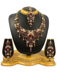 Parure bijoux indiya Rouge foncé et doré  - 1
