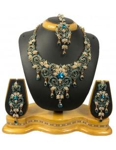 Parure bijoux indiya bleu turquoise et doré  - 1