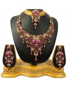 Parure bijoux indiya Rose et doré  - 1