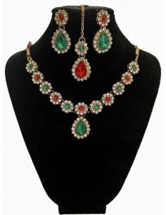 Parure Bijoux indienne Esha Rouge & Vert  - 1
