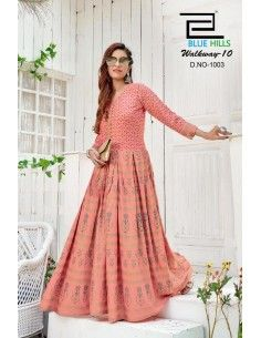 Tunique indienne longue Kurti Sweety ethnique Rose  - 1
