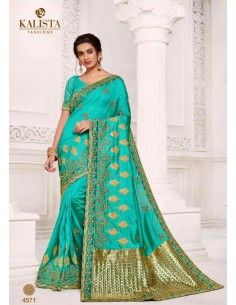 Sari indien Kalista bleu turquoise et dore  - 1