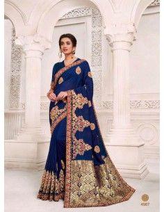 Sari indien Kalista bleu et dore  - 1