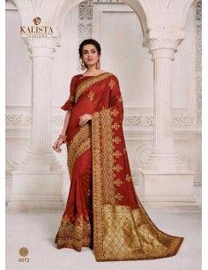 Sari indien Kalista rouge et dore  - 1