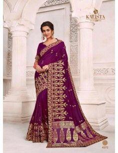 Sari indien Kalista violet et dore  - 1