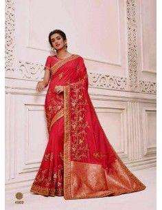 Sari indien Kalista rose et dore  - 1