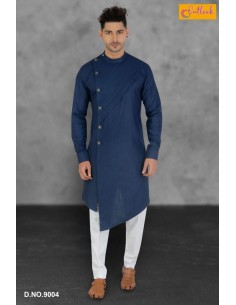 kurta tenue indien Qamis Homme Bleu Imran  - 1