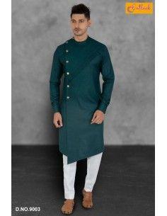 kurta tenue indien Qamis Homme Bleu VERT Imran  - 1