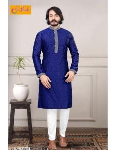 kurta indien Akbar bleu qamis homme  - 1