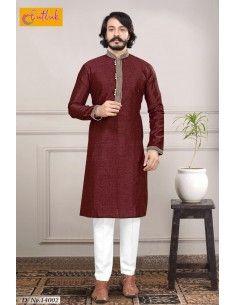 Kurta-tenue-indienne-homme-eid-mariage-brode-sari-homme-bollywood-rouge