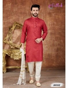 Tenue indienne homme Kurta Rouge  - 1