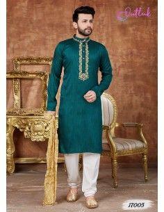 kurta tenue indienne Homme Ajay Vert  - 1