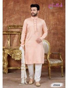 kurta tenue indienne Homme Rose clair qamis  - 1