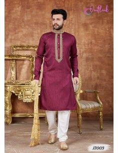 kurta tenue indienne Homme Rouge Bordeaux qamis  - 1