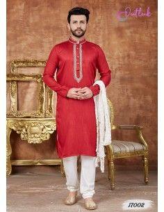 kurta tenue indienne Homme Rouge qamis  - 1