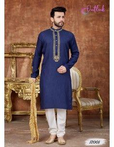 kurta tenue indienne Homme Bleu Marine qamis  - 1