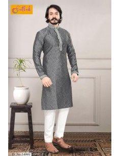kurta Tenue indien Akbar Gris qamis  - 1