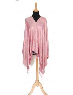 écharpe tissée pashmina rose clair  - 2