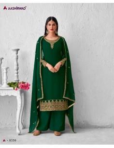 Robe indienne Salwar Kameez Churidar Ashwirind Vert  - 1