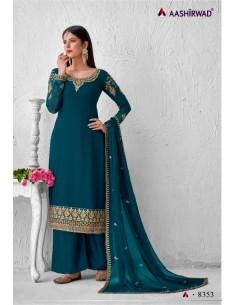 Robe indienne Salwar Kameez Churidar Ashwirind Bleu Vert  - 1
