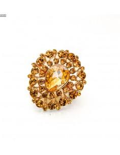 broche fantaisie doré et ambre  - 1