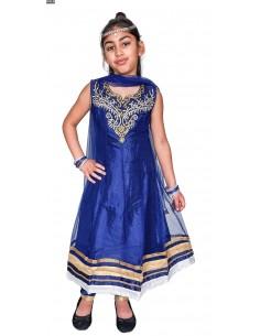 Salwar Kameez MANISHA bleu marine et doré  - 2