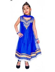 Salwar Kameez MANISHA bleu royal et doré  - 1