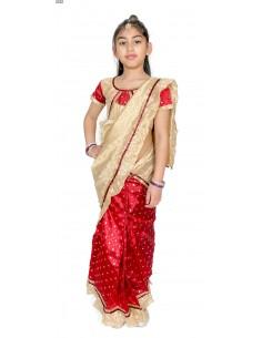 Sari fille enfant prêt à porter rouge  - 1
