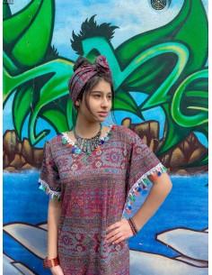 Salwar Kameez Sari Enfant pas cher roue et blanc