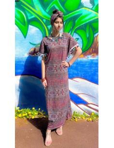 caftan ethnique tunique indienne motif géométrique pampille multicolore  - 1