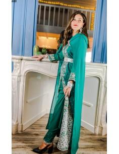 Robe indienne de Soirée indienne verte et argenté  - 1