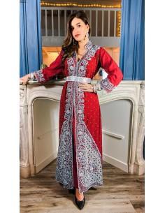Robe de Soirée indienne rouge et argenté  - 2
