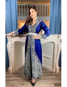 Robe indienne de Soirée bleu marine & argenté  - 1